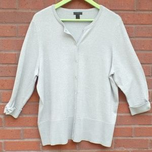 Nue Options Plus Silver Cardigan Sweater 2X